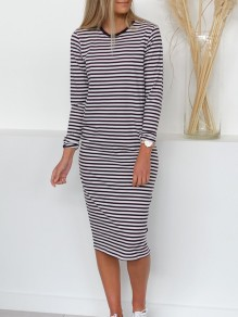 Black Striped Tie Back Draped Backless Round Neck Long Sleeve Casual Midi Dress