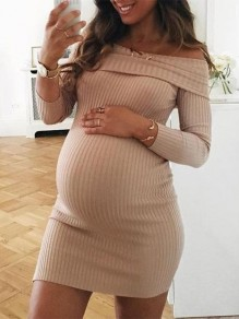 Khaki Striped Off Shoulder Long Sleeve Fashion Knit Maternity Dress