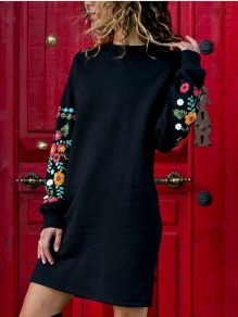 Black Embroidery Long Sleeve Round Neck Mexico Casual Mini Dress