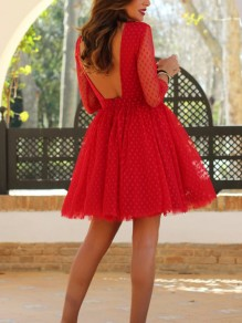 Red Polka Dot Grenadine Lace Backless Tutu Long Sleeve Homecoming Party Sweet Mini Dress