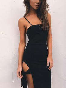 Black Spaghetti Strap Side Slit Clubwear Party Above Knee Midi Dress