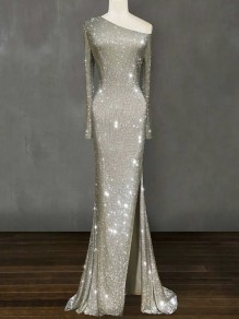 Silver Sequin Irregular Glitter Side Slit One-shoulder Sparkly Mermaid Banquet Wedding Maxi Dress