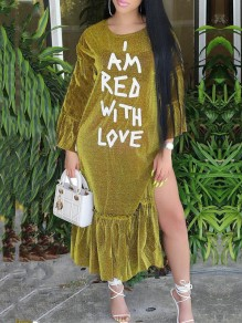 "Golden ""I AM RED WITH LOVE"" Bright Wire Ruffle Long Sleeve Casual Maxi Dress"