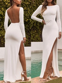 White Side Slit Backless Long Sleeve Fashion Maxi Dress