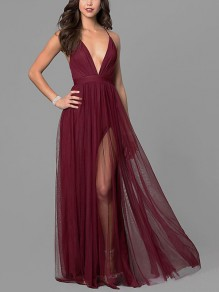 Burgundy Patchwork Grenadine Irregular Spaghetti Straps Backless Deep V-neck Homecoming Floor Length Maxi Dress