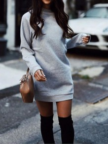 Light Grey Round Neck Long Sleeve Casual Mini Dress