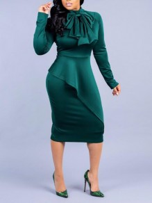 Green Irregular Ruffle Peplum Long Sleeve Cocktail Elegant Christmas Party Midi Dress