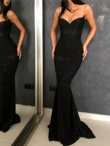 Black Glitter Spaghetti Strap Backless Sparkly Mermaid Banquet Evening Party Maxi Dress