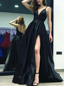 Black Spaghetti Strap Side Slits Backless V-neck Prom Evening Party Maxi Dress