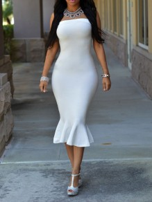 White Off Shoulder Zipper Mermaid Bodycon Backless Elegant Party Maxi Dress