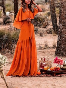 Orange Ruffle Pleated Bohemian Beachwear Boho Party Maxi Summer Dress