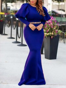 Royal Blue Draped Lantern Sleeve Mermaid Scuba Banquet Prom Party Maxi Dress