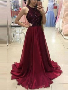Wine Red Patchwork Sequin Glitter Sparkly Draped Halter Neck Backless Sleeveless Elegant Wedding Prom Banquet Maxi Dress