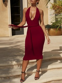 Red Belt Lace-up Halter Neck Backless Deep V Neck Below Knee Length Streetwear Midi Dress