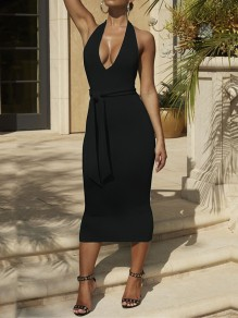 Black Belt Lace-up Halter Neck Backless Deep V Neck Below Knee Length Streetwear Midi Dress