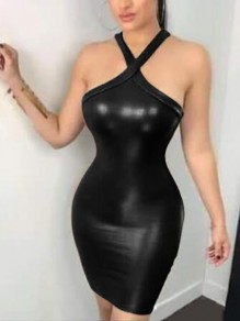 Black PU Leather Cut Out Halter Neck Backless Bodycon Latex Rubber Mini Dress