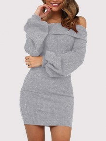 Grey Off Shoulder Long Sleeve Cocktail Party Mini Dress