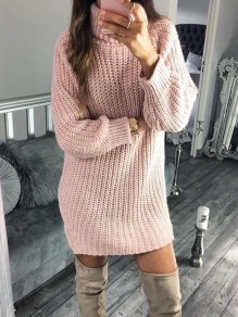 Pink High Neck Long Sleeve Going out Sweater Mini Dress