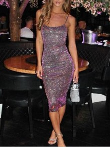 Purple Sequin Glitter Sparkly Spaghetti Strap Bedazzled Bodycon Homecoming Party Midi Dress