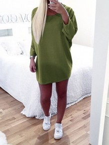 Mini robe col rond manches longues casual vert