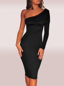 Black One Shoulder Backless Hip Bodycon Long Sleeve Princess Elegant Midi Dress