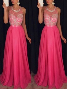 Pink Patchwork Lace Beading Round Neck Sleeveless Homecoming Party Maxi Dress