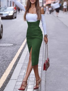 Green Pockets Straps Slit Going out Overall Midi Dress