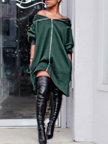Dark Green Irregular Pockets Zipper Off Shoulder High-low Hooded Casual Sweatshirt Midi Dress