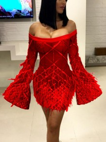 Red Patchwork Grenadine Sequin Fuzzy Off Shoulder Bell Sleeve Sheer Sparkly Party Mini Dress