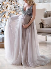 Lilac Sequin Grenadine V-neck Sleeveless Mermaid Pregnant Photoshoot Elegant Babyshower Maternity Maxi Dress