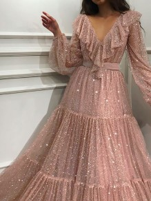 Golden Sequin Ruffle Pleated Tulle Tutu V-neck Puff Long Sleeve Glitter Sparkly Birthday Party Maxi Dress