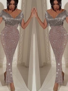 Silver Tassel Off Shoulder Backless V-neck Side Slit Hip Bodycon Glitter Sparkly Birthday Party Ankle Length Maxi Dress