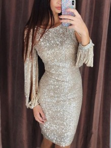 Silver Patchwork Tassel Sequin Cut Out Round Neck Long Sleeve Elegant Midi Dress