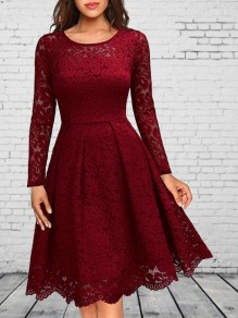 Wine Red Patchwork Lace Long Sleeve Elegant Homecoming Party Bridesmaid Prom Wedding Gowns Midi Dress