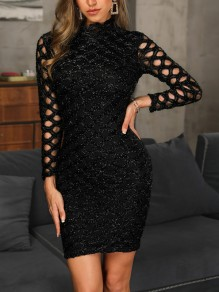 Black Patchwork Cut Out Bright Wire Long Sleeve Fashion Mini Dress