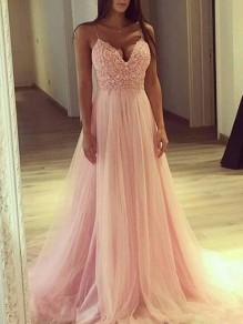 Pink Patchwork Bridesmaid Lace Spaghetti Strap V-neck Evening Party Prom Tulle Maxi Dress