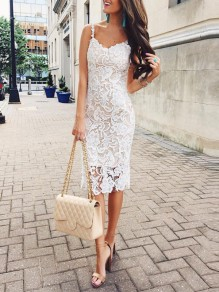 White Patchwork Lace V-neck Sleeveless Spaghetti Strap Midi Dress