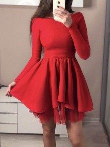 Red Patchwork Grenadine Pleated Draped Off Shoulder Long Sleeve Homecoming NYE Party Tutu Mini Dress