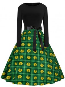 Green Patchwork Bow Print Round Neck Party Midi Dress