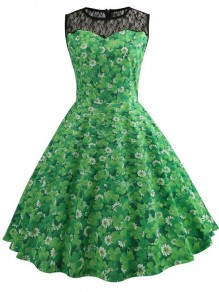 Green Patchwork Floral Clover Print Lace Grenadine Draped Round Neck Sleeveless Elegant Midi Dress