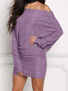 Lavender Off Shoulder Dolman Sleeve Fashion Sweater Mini Dress