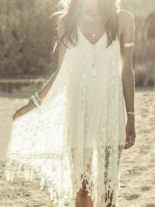 White Patchwork Lace Irregular Tassel Spaghetti Strap Backless Deep V-neck Flowy Boho Midi Dress
