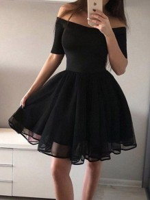 Black Patchwork Grenadine Draped Off Shoulder Skater Tutu Homecoming Graduation Party Mini Dress