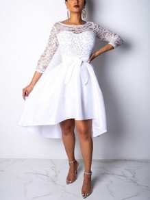 White Patchwork Lace Irregular Sashes 3/4 Sleeve High-low Skater Homecoming Party Midi Dress