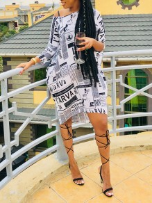 White Newspaper Print One Off Shoulder High-Low Party Maxi Dress