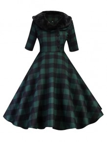 Green Plaid Print Buttons Fur Peter Pan Collar Midi Dress