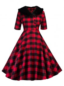 Red Plaid Print Buttons Fur Peter Pan Collar Christmas Party Cosplay A-line Midi Dress