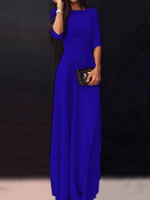 Deep Blue Draped Half Sleeve Floor Length Banquet Party Maxi Dress