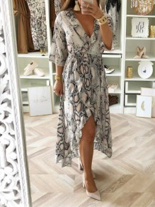 Apricot Floral Snakeskin Pattern Print Ruffle Draped Irregular V-neck Three Quarter Length Sleeve Fashion Maxi Dress