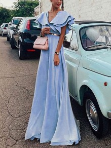Light Blue Cascading Ruffle Pleated Deep V-neck Elegant Prom Evening Party Maxi Dress